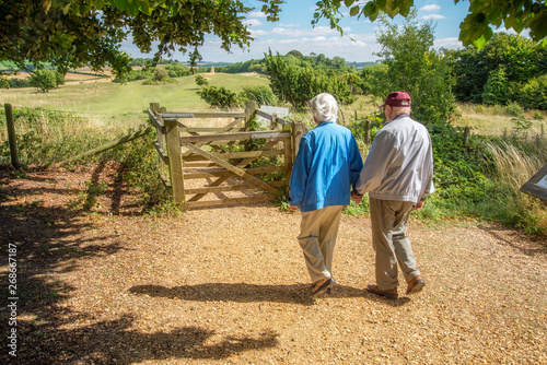 Obraz na plátně Elderly couple hold hands,walking in the British countryside.
