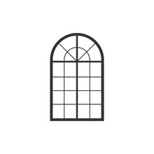 Arched Window Icon Isolated. Flat Design. Vector Illustration