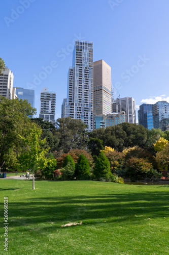 Poster Los Angeles Melbourne Victoria Australia City view skyline from park