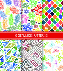 Seamless patterns set. Abstract backgrounds. Vector illustration.