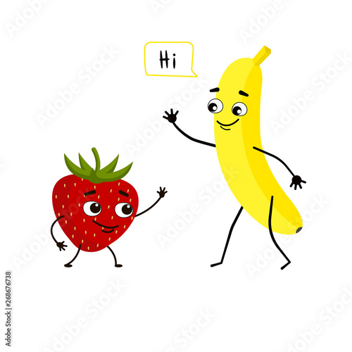 Banana and strawberry meet and greet each other. Fruit friendship, delicious combination of food.