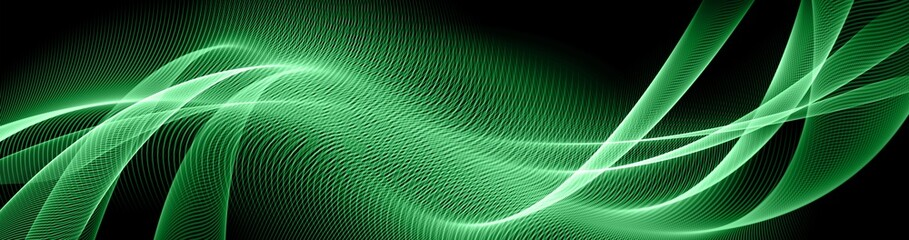 Abstract green background, abstract lines twisting into beautiful bends