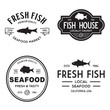 Vector set of fresh fish labels, logo, badges and design elements. Great Restaurant and Seafood Emblems.