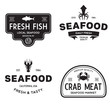Seafood restaurant logos set vector illustration. Market and fisherman emblems, fishes and seafood silhouettes.