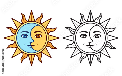 Obraz na plátně Stylized sun and moon