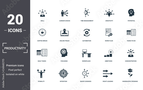 Photo Productivity icons set collection