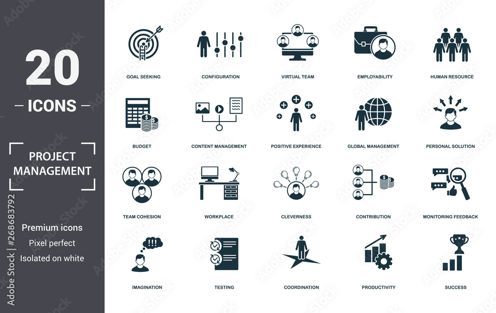 Fototapety, obrazy: Project Management icons set collection. Includes simple elements such as Goal Seeking, Configuration, Virtual Team, Employability, Human Resource, Workplace and Cleverness premium icons