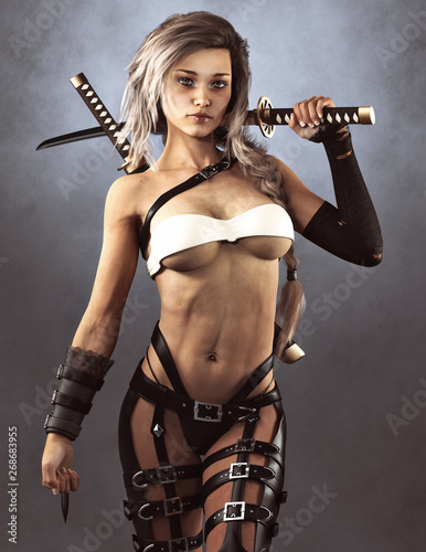 Leinwand Poster Beautiful Samurai female warrior concept posing with sword's and a studio background