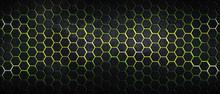 Dark Hexagon Background And Yellow Light