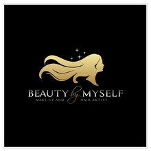Beautiful Woman With Long Hair Silhouette Logo Design Inspiration