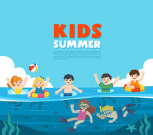 Happy Kids Play And Swim In The Sea. Little Boy And Girl Diving With Fish Under The Ocean. Kids Having Fun Outdoors. Illustration Of Summer Kids. Template For Advertising Brochure.
