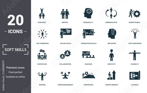 Fotografía  Soft Skills icons set collection