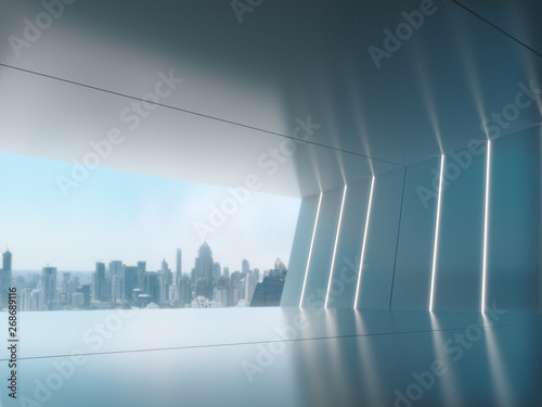 Empty room, Product showcase background, Long corridor with light glow and city background.3D rendering - 268689116