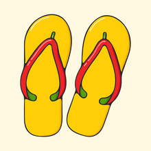 Beach Flip Flops Hand Drawn Po...