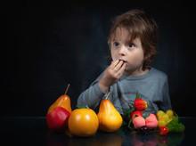 Emotion Of A Child On A Black Background