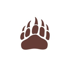 Vector Bear Paw Footstep Silhouette For Logo, Icon, Poster, Banner. Wild Animal Paw Print With Claws. The Trail Of Bear, Imprint.Wildlife Story, Problems Of Ecology, Sign Of Hunters, Brave Men Symbol
