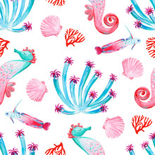 Gouache Seamless Pink And Green Undersea Pattern With Marine Life. Hand-drawn Clipart For Art Work And Weddind Design.