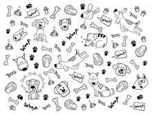 Hand Doodle Vector Clipart With Funny Dogs, Paw Prints And Bones. Cute Surface Design For Wallpaper, Background, Print