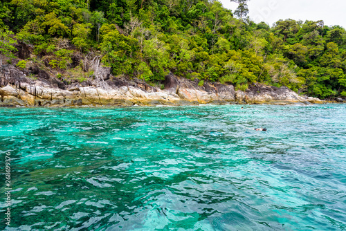 Printed kitchen splashbacks Zanzibar Beautiful tropical nature landscap, clear and clean turquoise sea and the tourist are snorkeling is a shallow dive site at Ko Ka Ta near Koh Lipe island Tarutao National Park, Satun, Thailandat