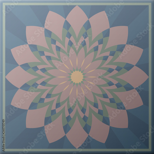 Poster Psychedelic Colorful tile, pastel colored, vintage style. Vector illustration.