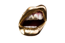 Isolated Lip. Golden Lips, Portrait. White Teeth With Gold. Wealth. Luxury. Glamor Life.