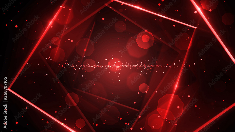 Fototapety, obrazy: Red virtual abstract background space tunnel with neon line lights. Reality square portal arch tunnel. Spectrum vibrant colors laser show.