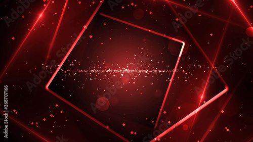 Red virtual abstract background space tunnel with neon line lights Canvas Print