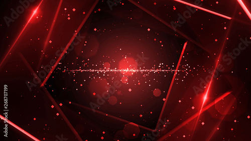 Red virtual abstract background space tunnel with neon line lights Wallpaper Mural