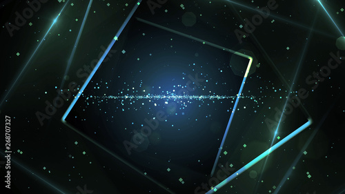 Blue virtual abstract background space tunnel with neon line lights Fototapeta