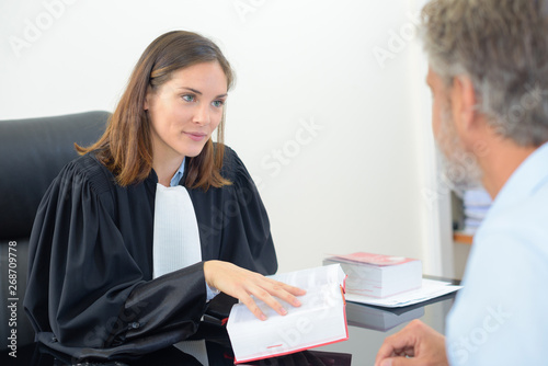female lawyer holding book in meeting with male client Фотошпалери
