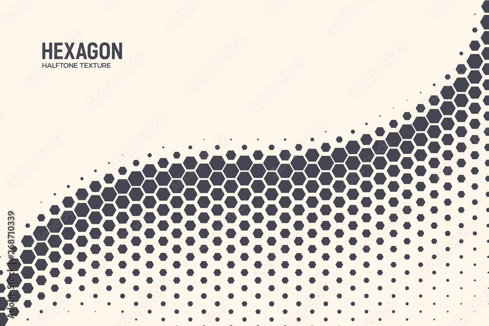 Fototapeta Hexagon Shapes Vector Abstract Geometric Technology Oscillation Wave Isolated on Light Background. Halftone Hex Retro Simple Pattern. Minimal 80s Style Dynamic Tech Wallpaper