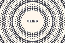 Hexagon Shapes Vector Abstract Geometric Technology Background. Radial Halftone Frame Hex Retro Simple Pattern. Minimal 80s Style Dynamic Tech Wallpaper