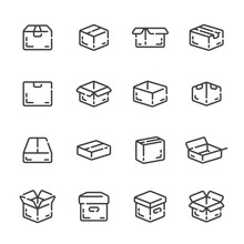Set Of Delivery, Send Box Or Package Outline Icons. Vector Illustration.