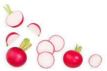 Fresh Whole And Sliced Radishes Isolated On White Background With Copy Space For Your Text. Top View