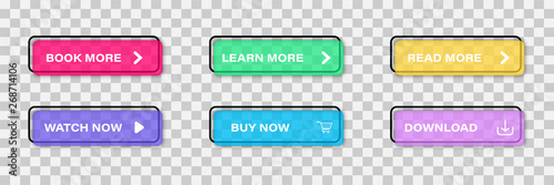 Fotografía Colorful web buttons set Isolated on transparent background