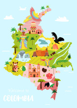 Bright Illustrated Map Of Colo...