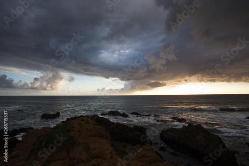 Poster Marron chocolat sunset over the sea