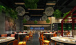 canvas print picture - 3d render of restaurant cafe