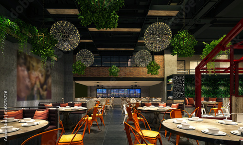 Fototapeta 3d render of restaurant cafe obraz