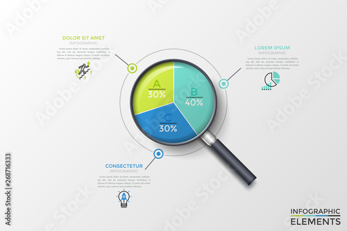 Realistic magnifying glass with round diagram inside divided into 3 colorful sectors with percentage indication and text boxes Fotobehang