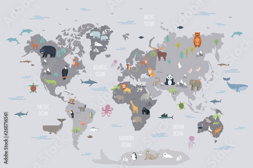 Fototapeta World map with wild animals living on various continents and in oceans. Cute cartoon mammals, reptiles, birds, fish inhabiting planet. Flat colorful vector illustration for educational poster, banner. obraz