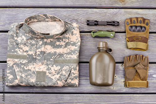 Military items arrangement  Flat lay, top view  Camouflage