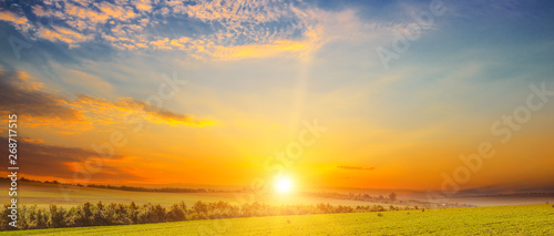 Montage in der Fensternische Honig Wide landscape green field and sunset