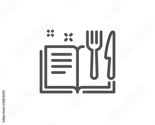 Fototapeta Recipe book line icon. Cutlery sign. Fork, knife symbol. Quality design element. Linear style recipe book icon. Editable stroke. Vector obraz