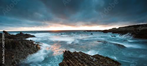 Valokuvatapetti time lapse of waves on california coast