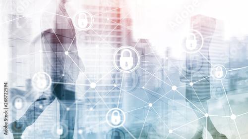 Fototapeta Cyber security, information privacy, data protection concept on modern server room background. Internet and digital technology concept obraz na płótnie