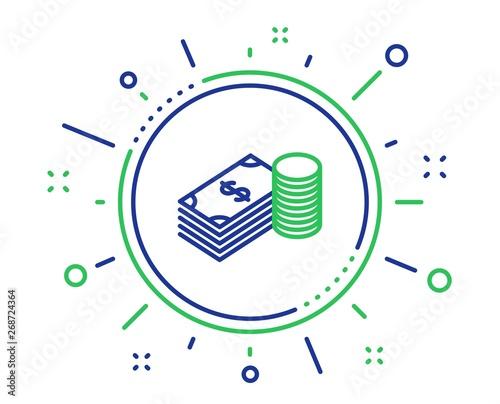 Fototapeta Cash money line icon. Banking currency sign. Dollar or USD symbol. Quality design elements. Technology savings button. Editable stroke. Vector obraz