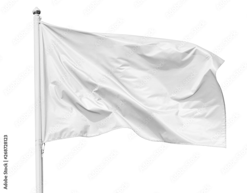 Fototapety, obrazy: White flag waving in the wind on flagpole, isolated on white background, closeup