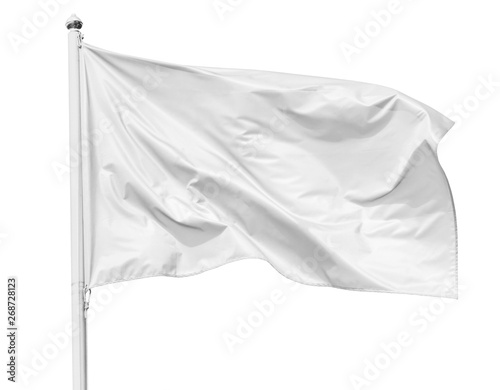 White flag waving in the wind on flagpole, isolated on white background, closeup Fototapete