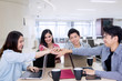 Business team join hands together for partnership